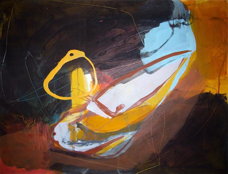 Erde und Feuer - Acryl auf Papier - 50x65
