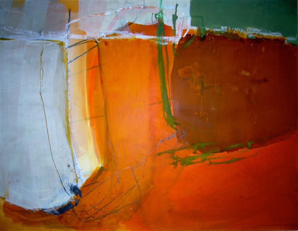 Experiment Rot - Acryl auf Papier - 50x65