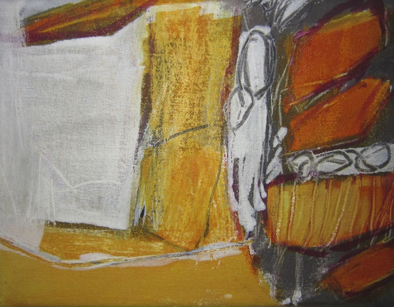 Serie in Orange I+II - Acryl auf Leinwand 13x18 cm