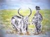 Afrikanerin mit Kuh - Tusche und Aquarell auf Papier